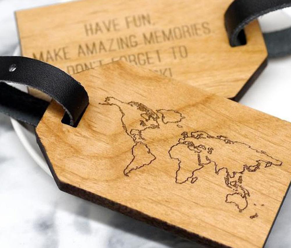 Wood Luggage Tags